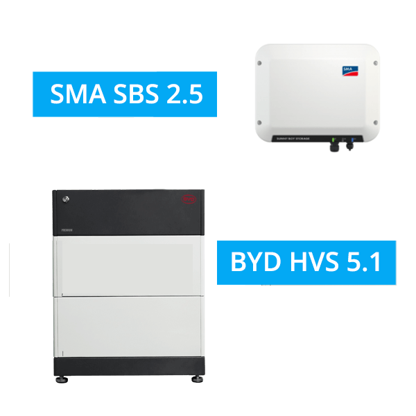 BYD BATTERY-BOX PREMIUM HVS 5.1 mit SMA SBS 2.5
